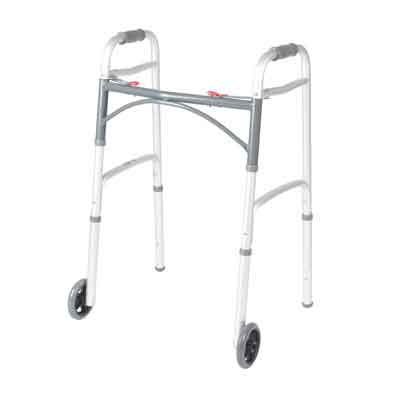 Drive Medical Deluxe Two Button Folding Walker with 5 in Wheels 10210-1
