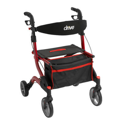 Drive Medical I-Walker Aluminum Rollator, Red - Model RTL10555RD