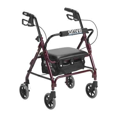 Drive Medical Junior Rollator with Padded Seat, Red 301psrn