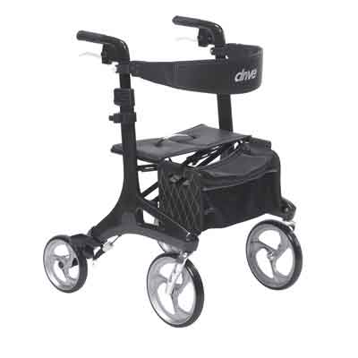 Drive Medical Nitro Elite CF Carbon Fiber Walker Rollator Black