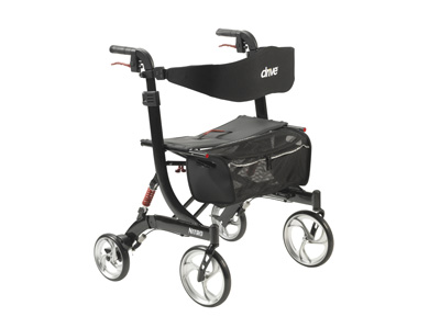 Drive Medical Nitro Euro Style Walker Rollator Heavy Duty Black 10266HD-BK