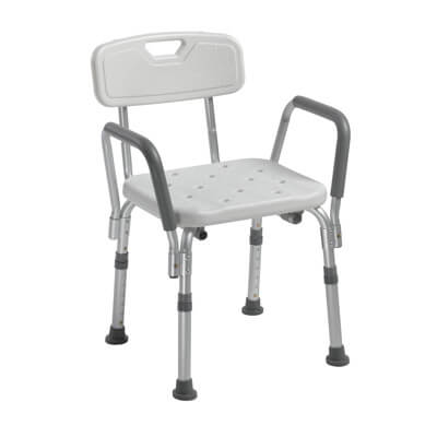 Drive Medical Shower Chair with Back and Removable Padded Arms - Model 12445KD-1