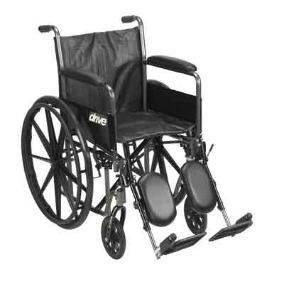 Drive Medical Silver Sport 2 Wheelchair, Detachable Full Arms, Elevating Leg Rests, 16 Seat ssp216dfa-elr