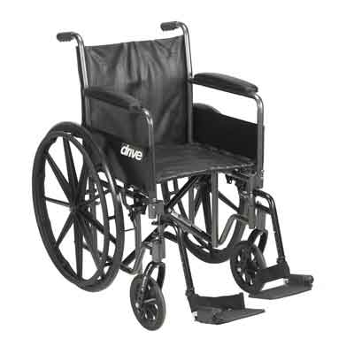 Drive Medical Silver Sport 2 Wheelchair, Detachable Full Arms, Swing away Footrests, 20 in Seat ssp220dfa-sf