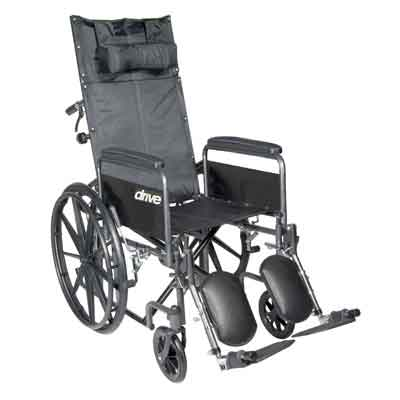Drive Medical Silver Sport Reclining Wheelchair with Elevating Leg Rests, Detachable Full Arms, 18 in Seat ssp18rbdfa