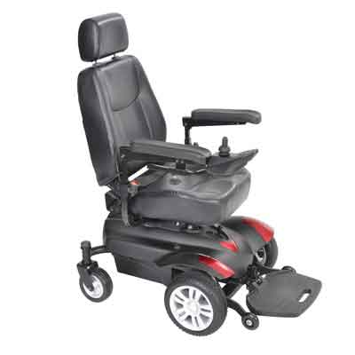 Drive Medical Titan Transportable Front Wheel Power Wheelchair Full Back Captain's Seat 18 x 16