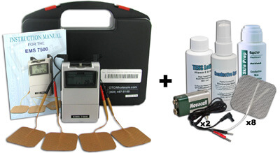 Roscoe Medical EMS-7500 EMS 3 Mode Portable Muscle Stimulator plus Accessory Kit