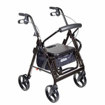 Drive Medical Duet Black Transport Wheelchair Rollator Walker 795bk