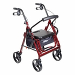 Drive Medical Duet Burgundy Transport Wheelchair Rollator Walker 795bu