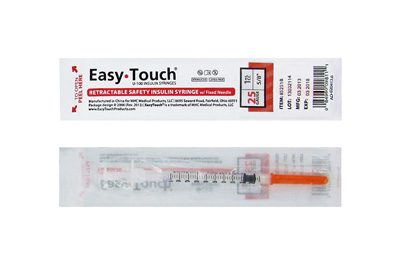 Easy Touch 25 Gauge 1 CC 5/8 in Retractable Safety Syringe w/ Fixed Needle 1 ea Model 852518 Expires March 2018