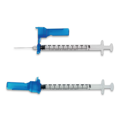 Easy Touch FlipLock Safety Insulin Syringe w/ Fixed Needle 100ct 29G 1 mL 12.7mm, 1/2 in 829215
