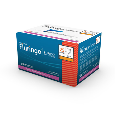 Easy Touch Fluringe FlipLock Safety Syringe w/ Fixed Needle 100ct 25G 1 mL 25mm, 1 in 825201