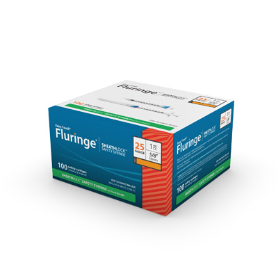 Easy Touch Fluringe SheathLock Safety Syringe w/ Fixed Needle 100ct 25G 1 mL 16mm, 5/8 in 835210