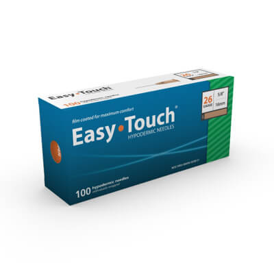 Easy Touch Hypodermic Needle 100ct 26G  16mm, 5/8 in 802600