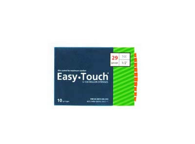 Easy Touch 29 Gauge 1 cc 1/2 in Insulin Syringes - 10 ea 829155