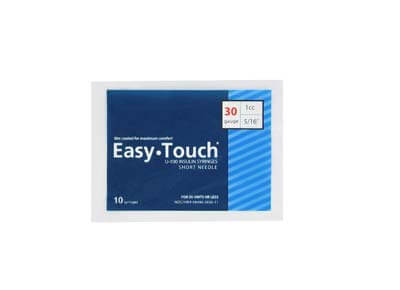 Easy Touch 30 Gauge 1 cc 5/16 in Insulin Syringes - 10 ea Model 830165