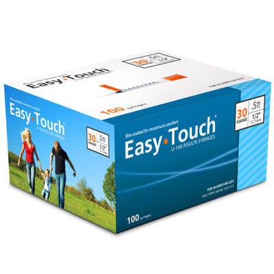 Easy Touch 30 Gauge 0.5 cc 1/2 in Insulin Syringes - 100 ea