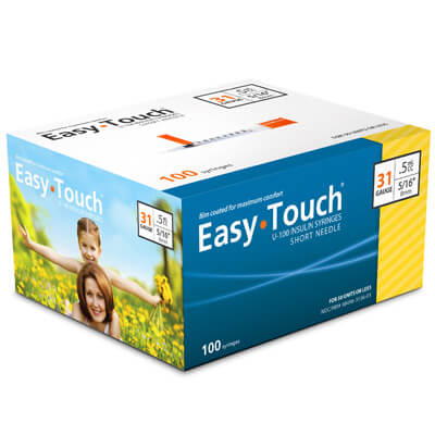 Easy Touch 31 Gauge 0.5 cc 5/16 in Insulin Syringes - 100 ea