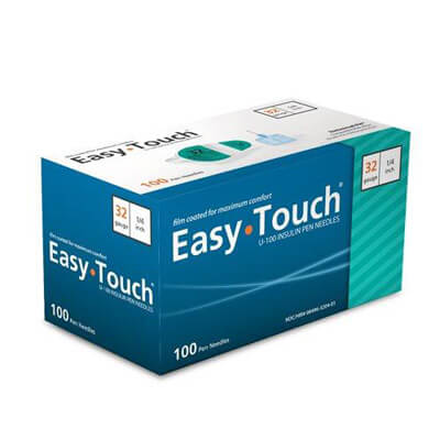 Easy Touch 32 Gauge 1/4 in Pen Needles - 100 ea