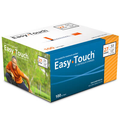 Easy Touch 27 Gauge 0.5 cc 1/2 in Insulin Syringes - 100 ea