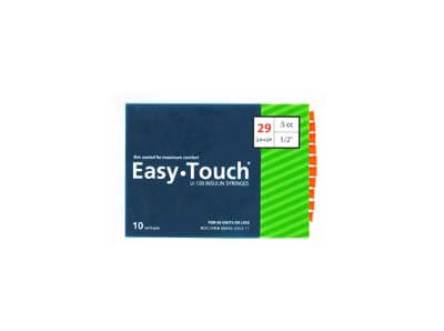 Easy Touch 29 Gauge 0.5 cc 1/2 in Insulin Syringes - 10 ea 829555
