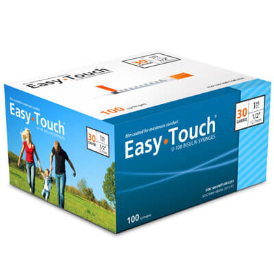 Easy Touch 30 Gauge 1 cc 1/2 in Insulin Syringes - 100 ea