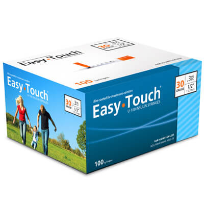 Easy Touch 30 Gauge 0.3 cc 1/2 in Insulin Syringes - 100 ea