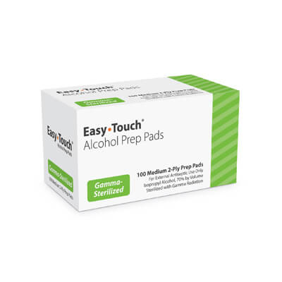 Easy Touch Medium 2-ply Alcohol Pads - 100 Swabs