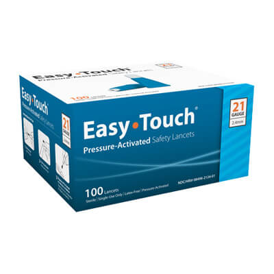 Easy Touch 21 Gauge Pressure Activated Safety Lancets - 100 ea