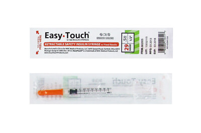 Easy Touch 29 Gauge 0.5 cc 1/2 in Retractable Insulin Safety Syringe w/ Fixed Needle - 1 ea Model 862955