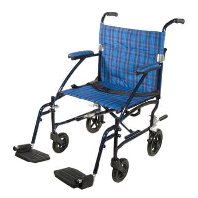 Drive Medical Fly Lite Ultra Lightweight Blue Transport Wheelchair dfl19-bl