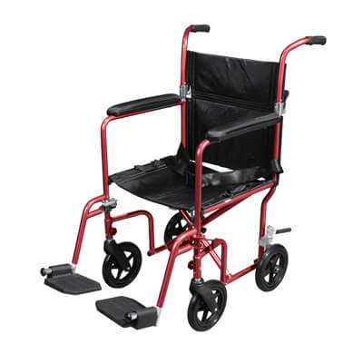 Drive Medical Flyweight Lightweight Red Transport Wheelchair with Removable Wheels Model rtlfw19rw-rd