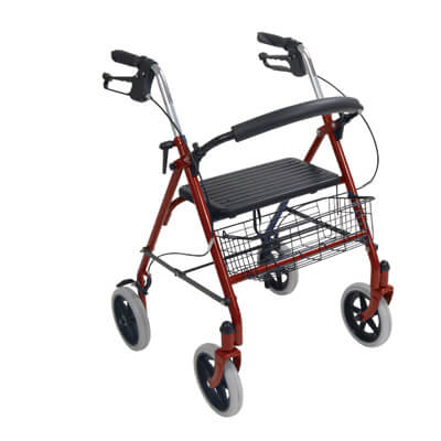 Drive Medical Four Wheel Rollator Walker with Fold Up Removable Back Support 10257rd-1