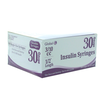 Global 30G .3cc 1/2 in Insulin Syringe