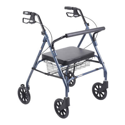Drive Medical Heavy Duty Bariatric Blue Rollator Walker with Large Padded Seat 10215bl-1