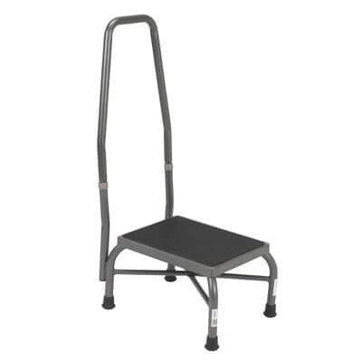 Drive Medical Heavy Duty Bariatric Footstool with Non Skid Rubber Platform and Handrail 13062-1sv
