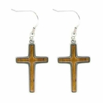 Island Sense Koa Wood Cross Earrings