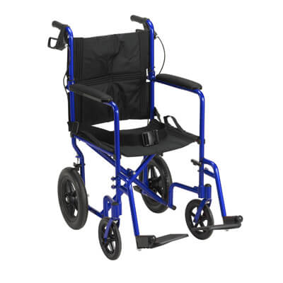 Drive Medical Lightweight Expedition Blue Transport Wheelchair with Hand Brakes exp19ltbl