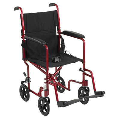 Drive Medical Lightweight Red Transport Wheelchair atc19-rd