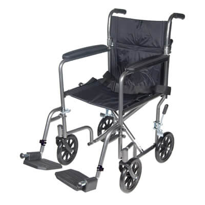 Drive Medical Lightweight Steel Transport Wheelchair with Fixed Full Arms tr37e-sv