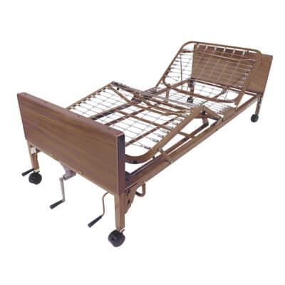 Drive Medical Multi Height Manual Hospital Bed with Full Rails and Therapeutic Support Mattress 15003bv-pkg-t