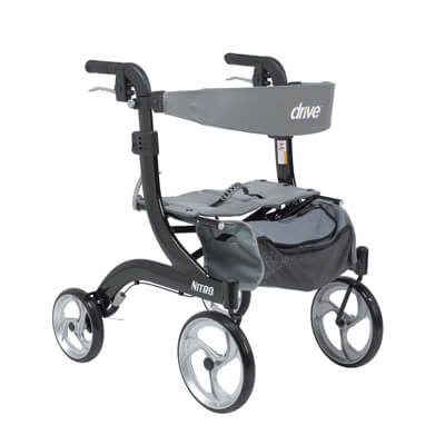 Drive Medical Nitro Euro Style Walker Rollator, Petite, Black