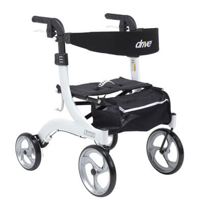 Drive Medical Nitro Euro Style Walker Rollator, Petite, White