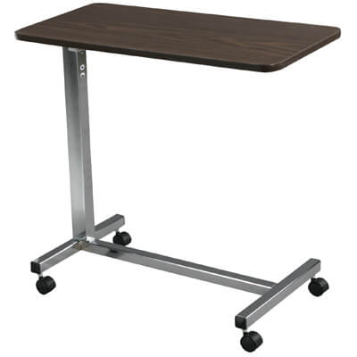 Drive Medical Non Tilt Top Chrome Overbed Table 13003