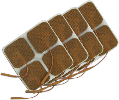 TENS Electrodes 2 x 2 in Square, Tan Mesh Backed - 16 Pads