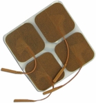 Roscoe Medical TENS Electrodes 2 x 2 in Square, Tan Mesh Backed - 4 Pads