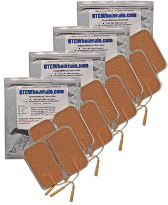 Roscoe Medical TENS Electrodes 2 x 3.5 in Rectangle, Tan Mesh Backed - 16 Pads