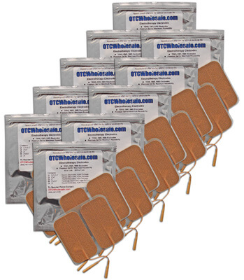 Roscoe Medical TENS Electrodes 2 x 3.5 in Rectangle, Tan Mesh Backed - 40 Pads