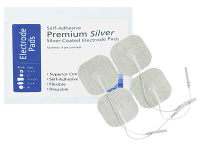 TENS Silver Electrodes 2 x 2 in Square, White Mesh Backed ep2020ss3 - 4 Pads