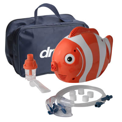 Drive Medical Pediatric Fish Compressor Nebulizer with Reusable and Disposable Neb Kit